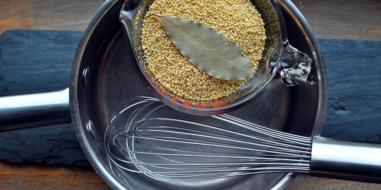 Pot, Whisk, Millet and Bay Leaf