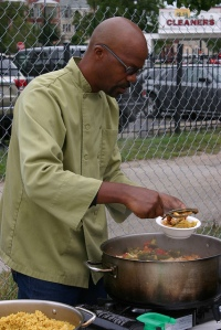 Majani's Catering's Executive Chef Tsadakeeyah Emmanuel demonstrating Gumbo