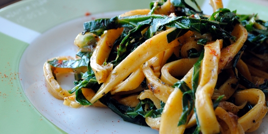 Smoked Paprika Pasta with Stir-Fry Harissa Collard Greens