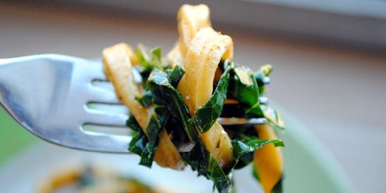 Smoked Paprika Pasta with Stir-Fry Harissa Collard Greens