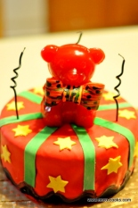 Kwanzaa Kuumba Bear Red and Black Velvet Cake
