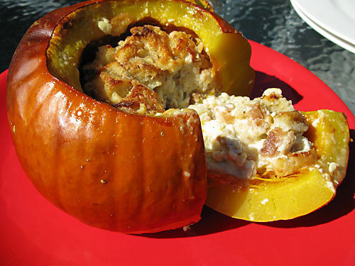 Roasted Pumpkin stuffed with Fondue