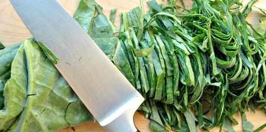Thinly sliced collard greens