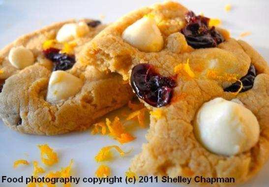 Orange Scented Cherry White Chocolate Cookies