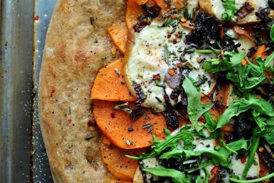 Sweet Potato, Caramelized Shallots, Smoked Mozzarella Pizza with Wilted Arugula