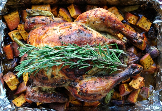 Provencal-Inspired Roast Chicken with Sweet Potatoes by MyLifeRunsOnFood.com