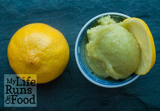 Lemon Basil Sorbet by Sanura Weathers of MyLifeRunsOnFood.com